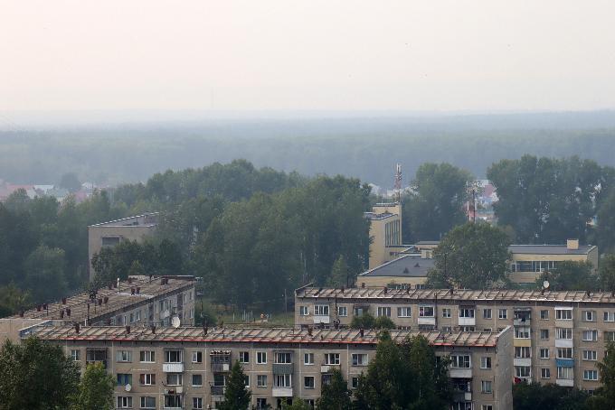 Дым от лесных пожаров окутал Новосибирск
