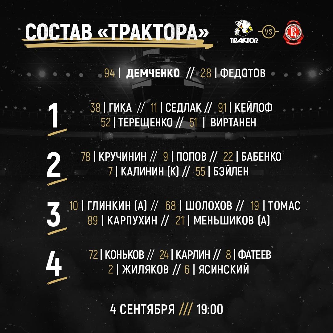 Текстовая трансляция матча КХЛ «Трактор» vs «Витязь»