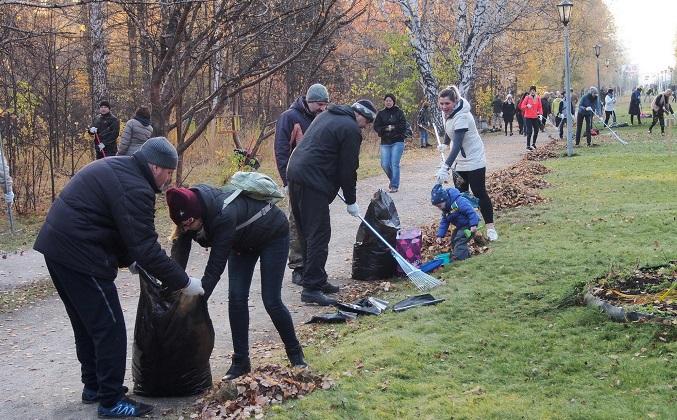 Министры с граблями убирали дендропарк на субботнике