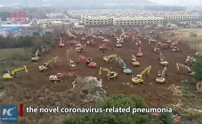 Китайцы за 10 дней строят больницу для зараженных вирусом