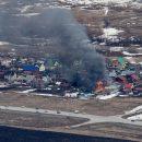 Из пяти стволов тушили пожар в поселке 8 марта