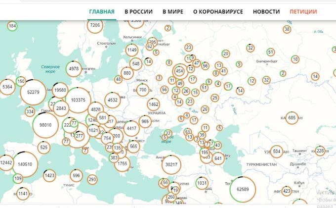 Карту распространения коронавируса создали разработчики из Новосибирска