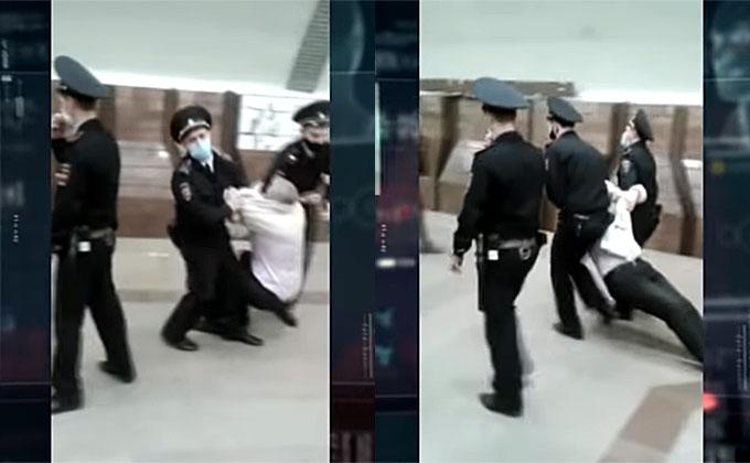 Старика без маски волоком тащили полицейские в  метро