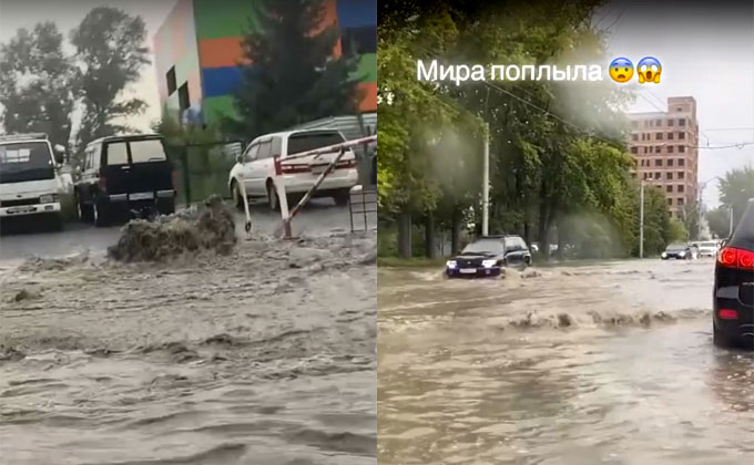 На потоп после дождя пожаловались жители Новосибирска