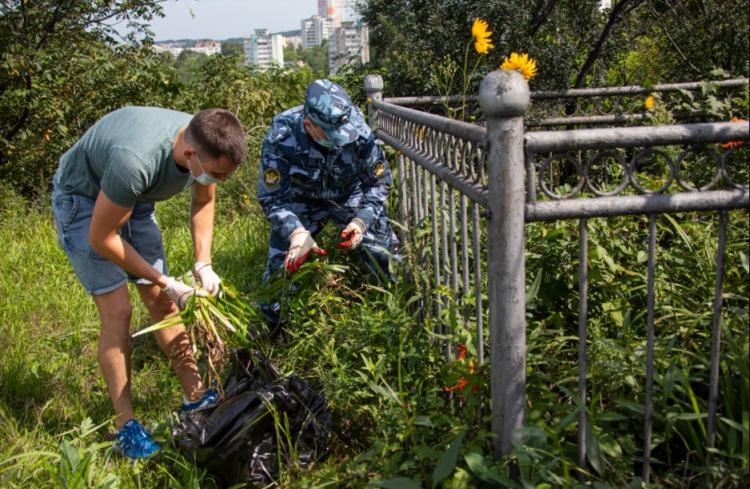 Места захоронений ветеранов приводит в порядок молодежь Владивостока