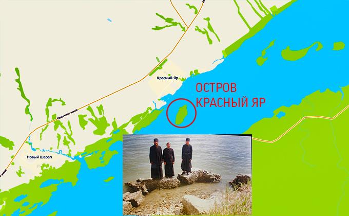 Карта затопленных церквей, поднимающихся со дна Обского моря