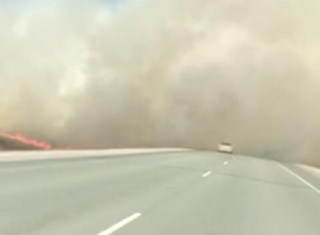 Трассу под Новосибирском затянуло дымом от горящих полей
