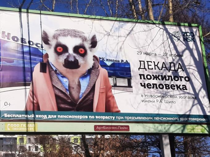 Шокирующий баннер с лемуром объяснили в Новосибирском зоопарке